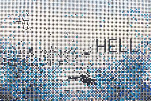 a wall of sparkling silver sequins with text hell
