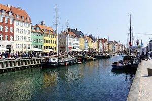 Nyhavn harbour at sunny day, Copenhagen, Denmark.