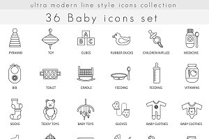 36 Baby ultra modern line icons set.