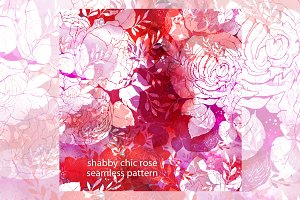 shabby chic rose. seamless pattern