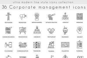 36 Corporate management line icons.