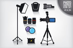 Photo Studio Equipment Icon Set