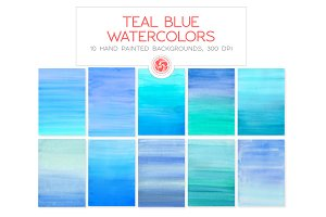 Teal Blue Watercolor Backgrounds