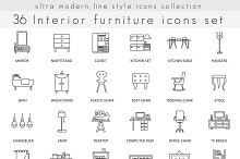 36 Furniture ultra modern line icons