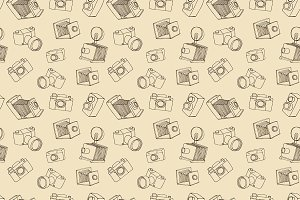 Vintage photo camera doodle pattern
