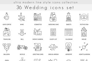 36 Wedding ultra modern line icons.