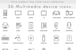 36 Multimedia devices line icons.