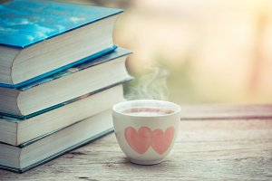 Tea cup with book