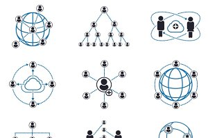 People connection and network icons