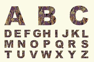 Font with decorative texture. Vector
