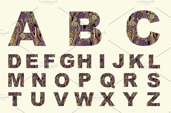 Font with decorative texture. Vector - Display