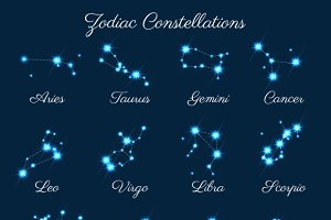 Zodiac constellations vector