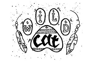 Wild Cat Ethnic Illustration