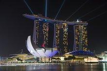 Singapore city at sunset time