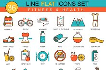 Fitness & health flat line icons set