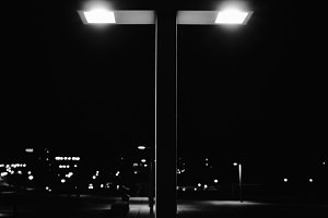 Night City and Modern Street Lamp