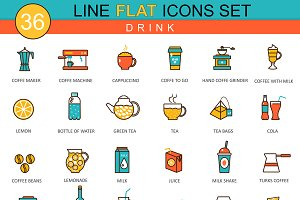 36 Drinks flat line icons set.