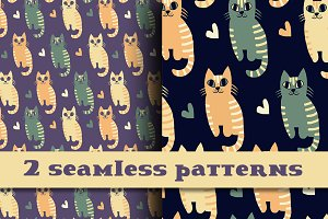 Retro colors kittens pattern.