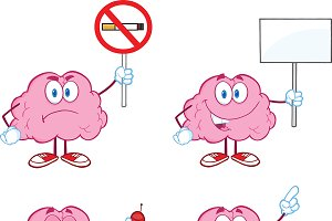 Brain Cartoon Mascot Collection - 5