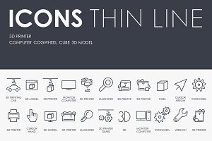 3d printer thinline icons