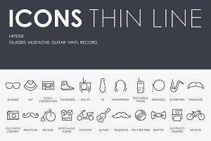 Hipster thinline icons