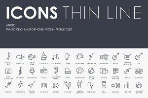 Music thinline icons