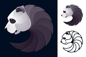 Panda bear head volume vector logo.