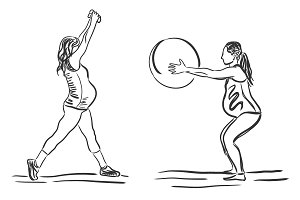 pregnant, fitness, sport, sketch