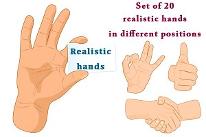 Set of 20 realistic hands.