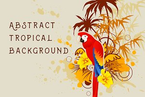 Background with palm and parrot