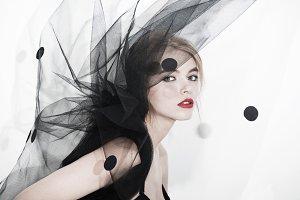 veil fashion woman art vogue photo red lips professional beauty model face