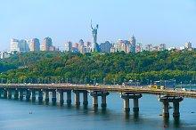 Kiev skyline with bridge, Ukraine