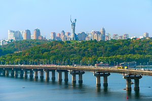 Kiev skyline with bridge, Ukraine