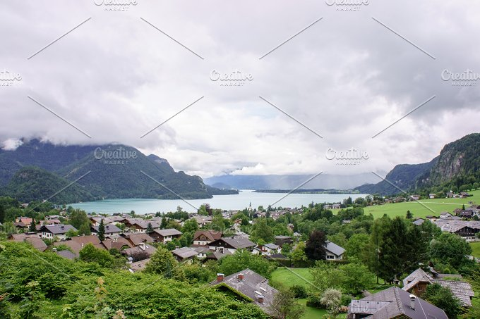 Alpine mountain village on mountains at summer. Rural life - Photos