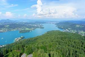 Panoramic view over The Lake Faak / Carinthia / Austria