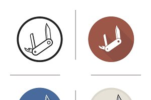 Penknife icons. Vector