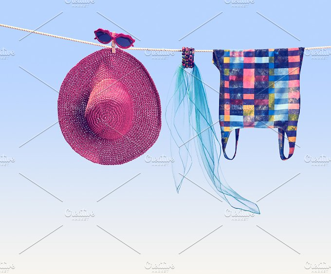 Beach outfit. Summer clothes set. Vacation - Holidays