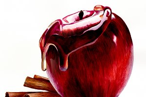 watercolour apple illustration