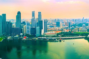 Colorful panorama of Singapore