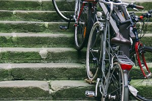 Bicycles on stairs