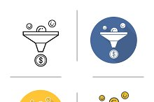 Sales funnel icons. Vector