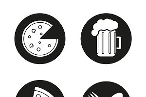 Pizzeria icons. Vector