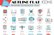36 Network technology artline icons.