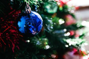 Blue ball on a Christmas tree
