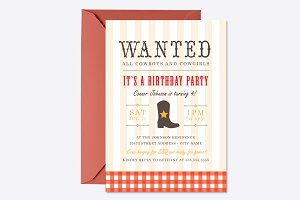 Western Birthday Invite Template