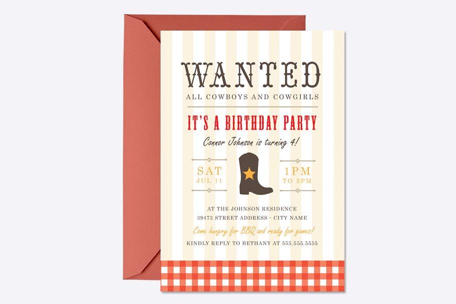 Western Birthday Invite Template