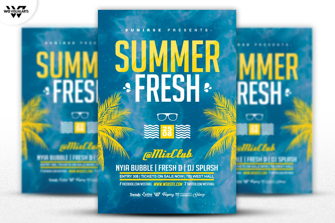 summer palms flyer template flyer templates creative market