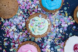 Cupcakes with cream and sprinkles
