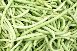 Close-up view group of fresh small slender wax green beans