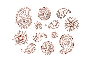 Henna tattoo mehndi doodle elements